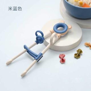 冠深 儿童学习筷子训练筷 宝宝幼儿学前学习筷 婴儿餐具小孩家用训练筷子 米蓝色
