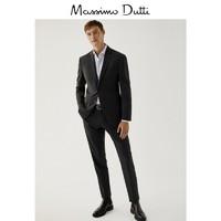 季末折扣 Massimo Dutti男装 130 支纱高纱织羊毛格纹修身西装长裤 00077113801(38 (175/78A)、灰色)