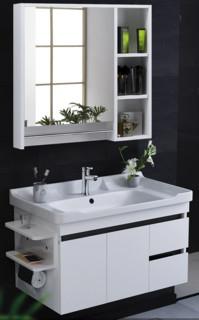 HOROW 希箭 实木浴室柜组合套装 智能方镜黑白80cm