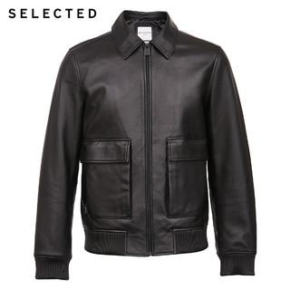 SELECTED思莱德秋季新品羊皮商务休闲男士皮衣外套S 420310006(190/108A/XXL、黑色BLACK)