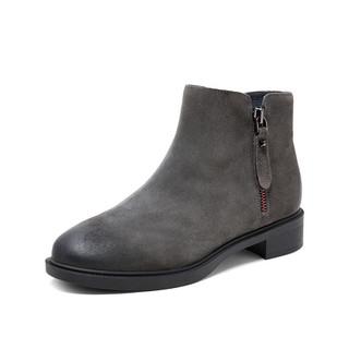 Teenmix 天美意 TBLCBE50D 方跟擦色拉链皮靴