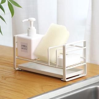 凤全 海绵沥水收纳架洗碗水池置物架厨房用品水槽台面免打孔抹布架神器 小号白色