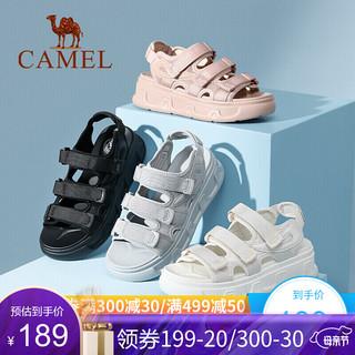 CAMEL 骆驼 骆驼运动凉鞋女夏季新款松糕厚底增高女士休闲凉鞋潮流时尚魔术贴平底鞋子 米色 37