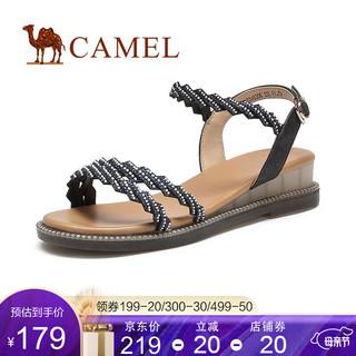 CAMEL 骆驼 骆驼(CAMEL)女鞋2021夏季新款时尚凉鞋女动感潮流厚底休闲百搭凉鞋 黑色 35