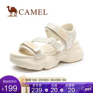 CAMEL 骆驼 骆驼(CAMEL)女鞋2021新款休闲鞋子厚底沙滩鞋网红运动凉鞋女 米色 37