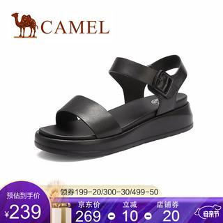 CAMEL 骆驼 骆驼(CAMEL)凉鞋2021夏季新款时尚潮凉鞋休闲坡跟凉鞋一字扣凉鞋女 黑色 35