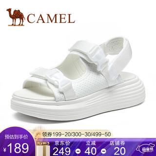 CAMEL 骆驼 骆驼(CAMEL)女鞋2021夏季新款厚底凉鞋女款休闲松糕底魔术贴凉鞋 白色 37