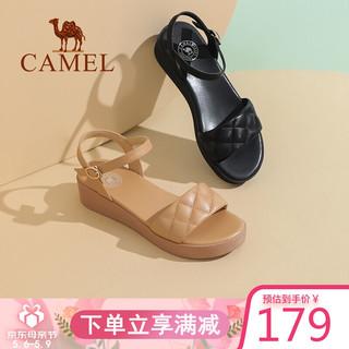 CAMEL 骆驼 骆驼(CAMEL)女鞋 气质休闲菱格一字带便捷搭扣坡跟凉鞋 A122266268 黑色 37