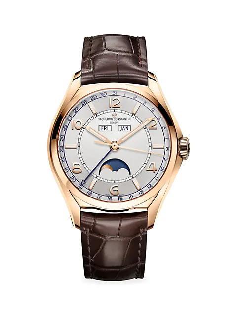 VACHERON CONSTANTIN 江诗丹顿 Fiftysix 18K 5N Rose Gold & Alligator Strap Complete-Calendar Watch