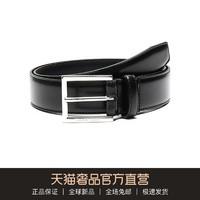 Hugo Boss 雨果博斯 男士牛皮针扣式皮带腰带 50424605(001 黑色、115cm)