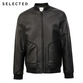 SELECTED思莱德新款羊皮黑色拼接潮流插肩皮衣夹克男S|420310011(165/88A/XS、黑色BLACK)