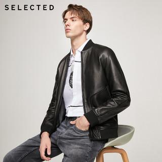 SELECTED思莱德新款羊皮黑色拼接潮流插肩皮衣夹克男S 420310011(170/92A/S、黑色BLACK)
