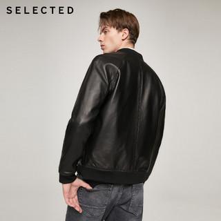 SELECTED思莱德新款羊皮黑色拼接潮流插肩皮衣夹克男S|420310011(180/100A/L、黑色BLACK)