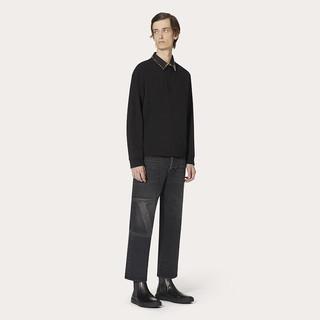 Valentino/华伦天奴男士 ROCKSTUD UNTITLED 铆钉长袖POLO衫(XL、黑色)