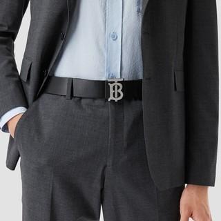 【520礼物】BURBERRY 两面双用图案皮革腰带 80320461(海军蓝 / 黑色、110cm)