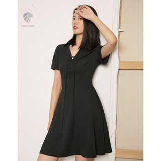夏新品连衣裙短袖V领高腰裙子绑带中长款雪纺女 黑色 M
