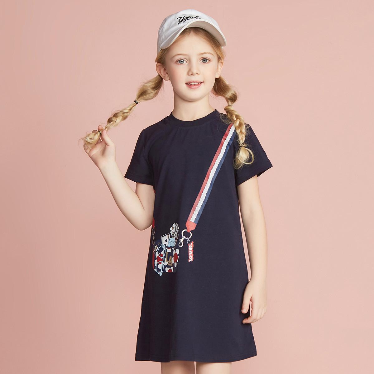 La Chapelle 拉夏貝爾 女童短袖休閑連衣裙