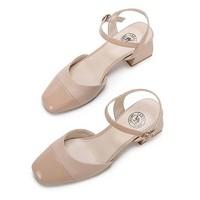 骆驼(CAMEL) 女士 优雅气质扣带方头车缝线粗跟单鞋 A01549606 杏色 36