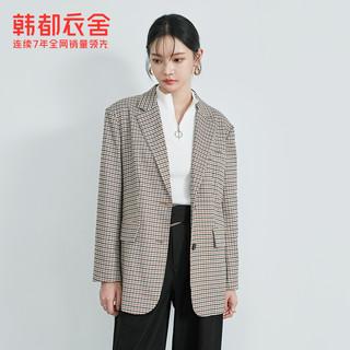 【IU同款】韩都衣舍2021春装新款韩版复古外套格纹西装女PV9765崟(L、格子)