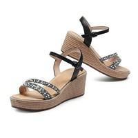 骆驼(CAMEL)女鞋 时尚气质珍珠烫钻装饰细带搭扣坡跟凉鞋 A12040616 黑色 37