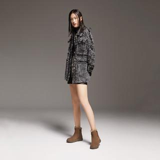 百丽厚底雪地靴女冬新款时尚保暖鞋加绒短皮靴78028DD0(34、深卡)