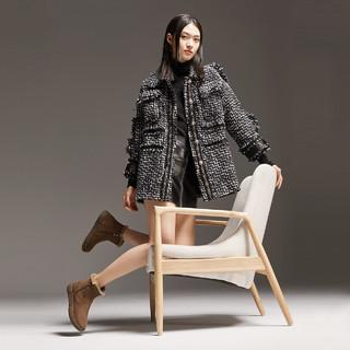 百丽厚底雪地靴女冬新款时尚保暖鞋加绒短皮靴78028DD0(37、灰色)