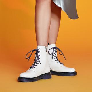 百丽航海王马丁靴女冬新款ins英伦风8孔圆头短靴3CX60DZ0(38、路飞色)
