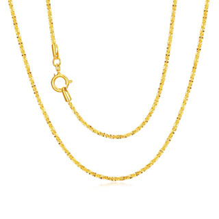 CHJ JEWELLERY 潮宏基 满天星 黄18k金项链素链彩金锁骨链配链侧身链项链