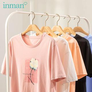 INMAN 茵曼 茵曼旗舰店新疆棉短袖T恤女2021夏装新款甜美印花宽松显瘦百搭