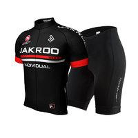 捷酷骑行服套装男短袖夏季 山地自行车骑行装备 骑行服 透气(S、黑色短袖)