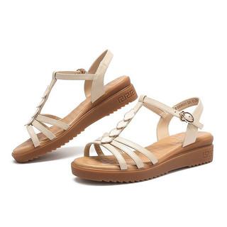 CAMEL 骆驼 A125046301 女士细带丁字搭扣坡跟凉鞋