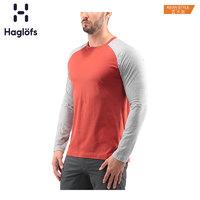 Haglofs火柴棍男款春秋棉质圆领长袖T恤603990 亚版(XL、42M 湖蓝色/灰白混合色)