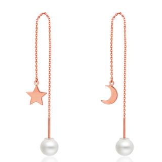 CHOW TAI FOOK 周大福 星愿系列星月相伴个性18K金珍珠耳环/耳线