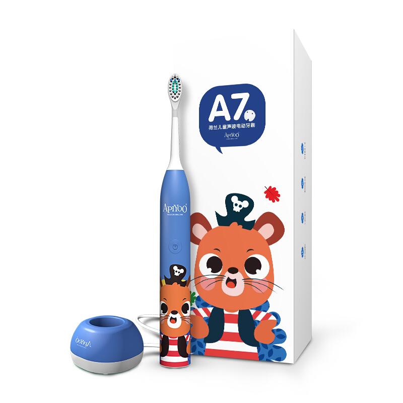 艾优(ApiYoo)儿童电动牙刷 3-12岁幼儿牙刷 6-12岁无线充电防水宝宝牙刷 A7 海盗鼠蓝