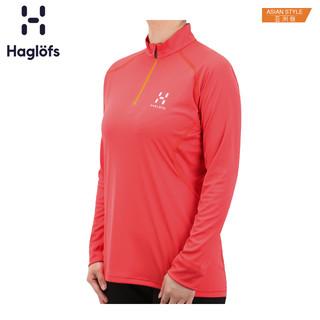 Haglofs火柴棍户外女款半拉链立领透气快干长袖T恤 603577 亚版
