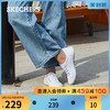 Skechers斯凯奇女鞋夏季新款休闲鞋学院风小白鞋时尚平底帆布鞋(38.5、酒红色/BURG)