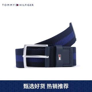 TOMMY HILFIGER 男装独特多色拼接编织针扣腰带AM0AM07066(藏青色DW5、95cm)