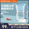 苏泊尔净水壶UF01家用活性炭净水杯厨房自来水过滤器便携过滤壶(蓝色一机六芯)