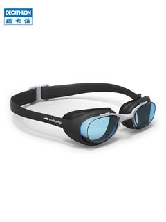 迪卡侬游泳眼镜男女童近视高清防雾防水泳镜泳帽套装游泳装备IVL1(近视泳镜-L号-400度)