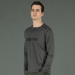 Marmot 土拨鼠 舒适顺滑男款圆领休闲长袖运动T恤 玛瑙灰/飓风灰