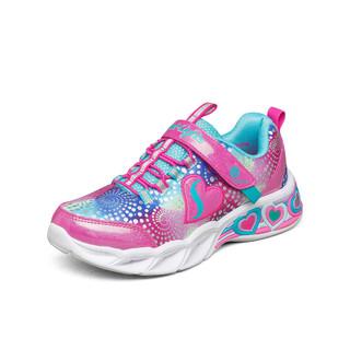 SKECHERS 斯凯奇 2021年新款中大女童运动鞋可爱闪灯儿童魔术贴运动休闲鞋女童