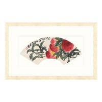雅昌 齐白石 水墨画 国画《长寿延年扇》76×47cm 装饰画 宣纸