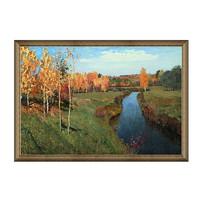 雅昌 现代简约风景油画《金色秋天》列维坦典雅栗(偏金色) 136×92cm