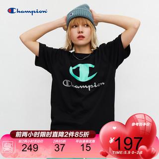 Champion 冠军T恤2021新款春夏大C情侣短袖纯棉运动潮牌男女无性别 深蓝色 M