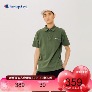 Champion 冠军T恤官网2021春夏新款男士翻领Polo草写小Logo短袖T恤 橄榄绿 L