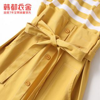 韩都衣舍2021夏装新假两件小个子时尚减龄收腰连衣裙女OU13254咊