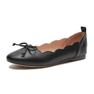 hotwind 热风 新款女士时尚休闲单鞋甜美风蝴蝶结平底皮鞋女