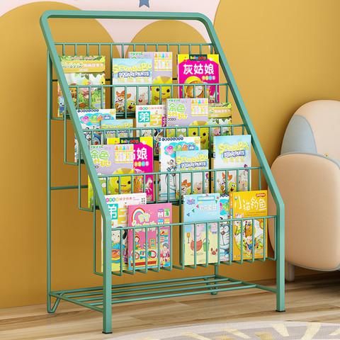 儿童书架储物加粗书架绘本架铁艺落地杂志置物架简易宝宝家用卧室简约收纳架类