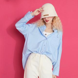 elf sack 妖精的口袋 2021春季新款全棉休闲长袖女式衬衫宽松百搭POLO领开衫