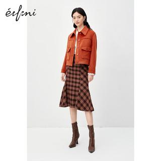 伊芙丽短外套女2020年新款秋冬装宽松工装风上衣女士短款毛呢外套(165/88A/L、豆绿 优雅大方版型)